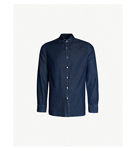 JACOB COHEN Contrast-stitched slim-fit cotton shirt (Blue