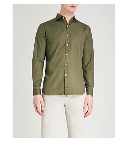JACOB COHEN Contrast-stitched slim-fit cotton shirt (Green