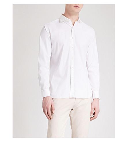 JACOB COHEN Contrast-stitched slim-fit cotton shirt (White