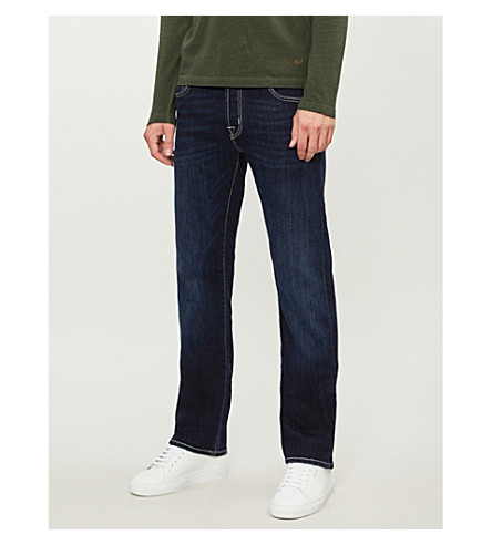 JACOB COHEN Faded tailored-fit straight jeans (Navy+toupe