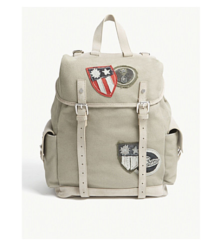 Green backpack Canvas ELEVENTY and suede Canvas ELEVENTY WYpPFSwT