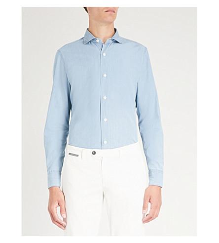 de chambray Camisa ELEVENTY slim fit marino algodón azul y tqawP1xq
