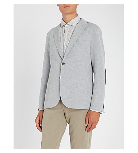 ELEVENTY Striped linen and cotton shirt (Grey