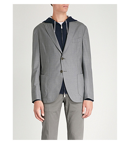 ELEVENTY Single-breasted wool blazer (Grey