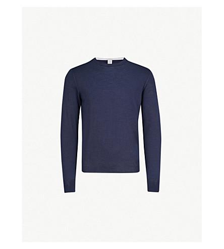 ELEVENTY Fine-knit merino-wool and silk-blend jumper (Blue