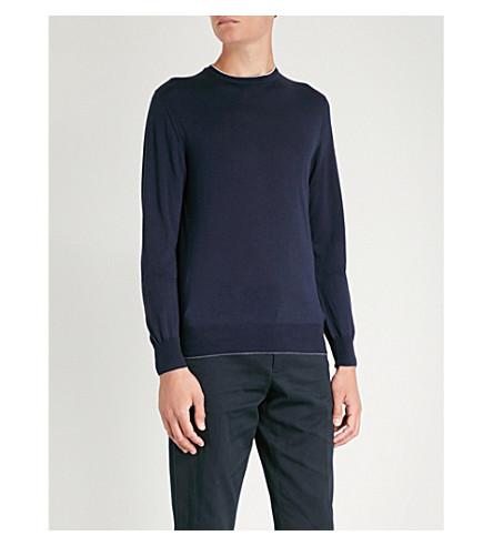 ELEVENTY 细针织美利奴-羊毛和丝绸混纺跳线 (蓝色