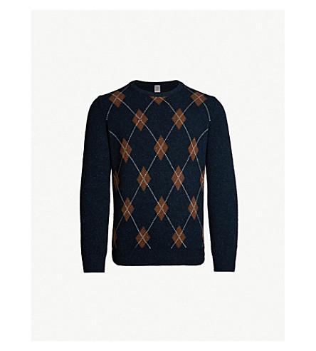 ELEVENTY Argyle-knit cashmere jumper (Blu