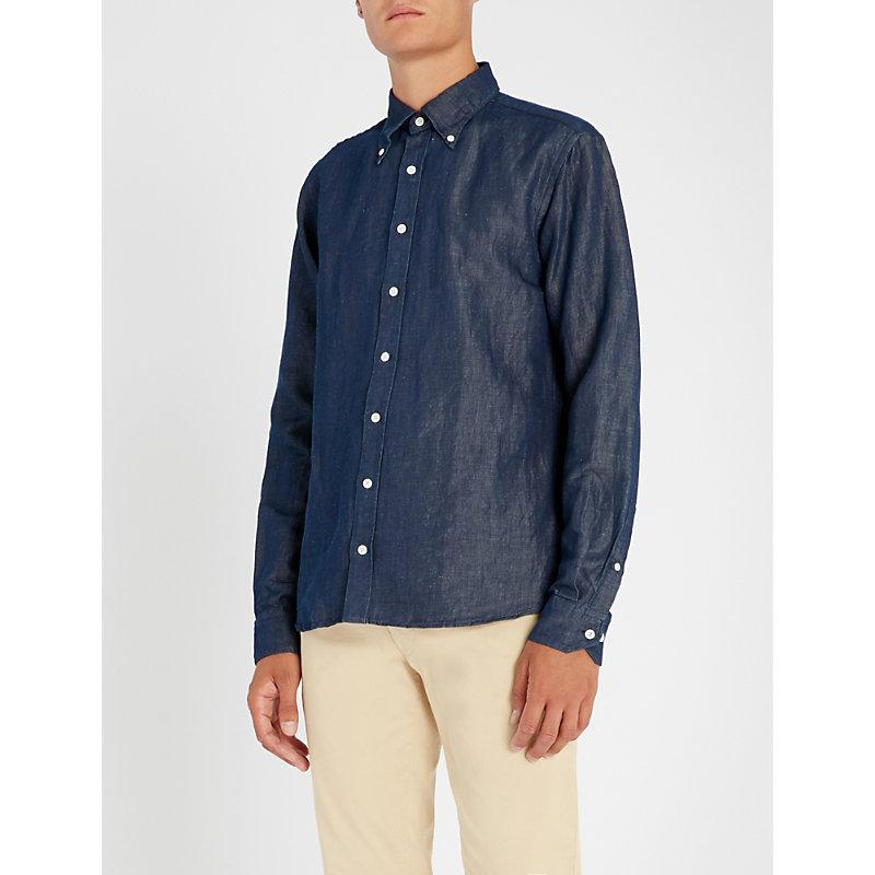 OSCAR JACOBSON Harry slim-fit cotton and linen-blend shirt