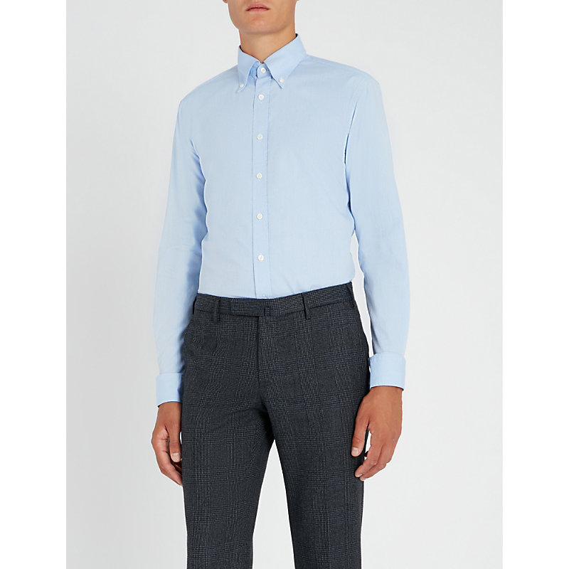 OSCAR JACOBSON Harry slim-fit stritched pattern cotton and linen-blend shirt