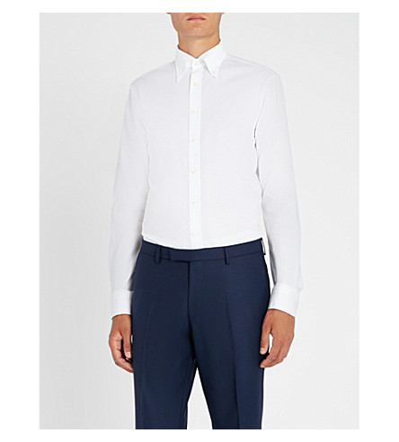 OSCAR JACOBSON Harry stitched pattern slim-fit cotton and linen-blend shirt (White
