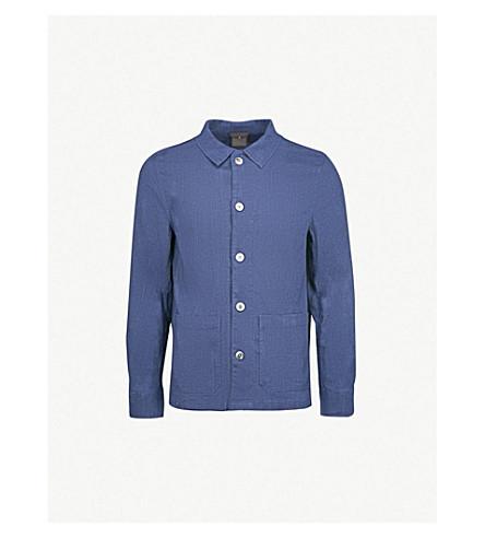 OSCAR JACOBSON Hannes regular-fit hopsack cotton-blend shirt (Dark+blue