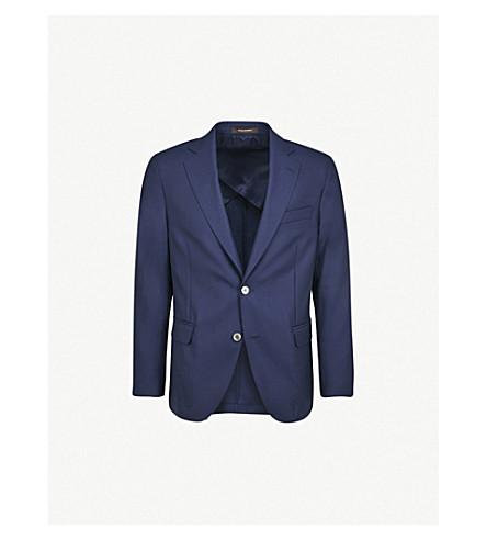 奥斯卡雅各布森渡轮定期适合羊毛夹克 (深色 + 蓝色
