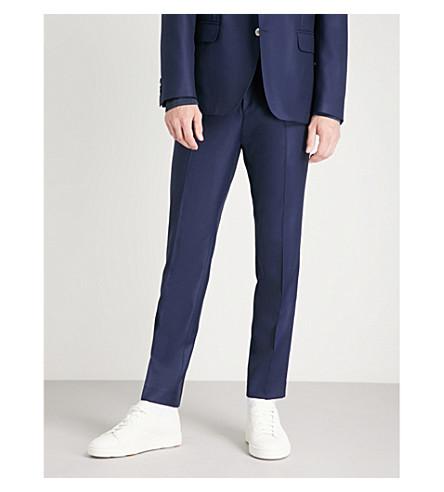 奥斯卡雅各布森细合身直羊毛长裤 (深色 + 蓝色