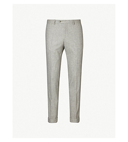 OSCAR JACOBSON Dean slim-fit tapered wool trousers (Grey