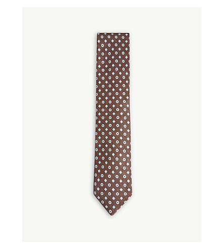 OSCAR JACOBSON Diamond-flower linen and silk tie (Brown