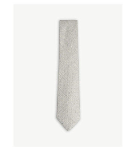 OSCAR JACOBSON Solid grenadine silk tie (Beige