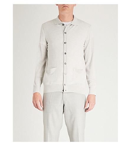 OSCAR JACOBSON Cody waffle-knit wool cardigan (Grey