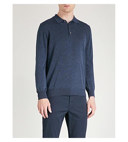 OSCAR JACOBSON Ruben slim-fit cotton polo shirt (Blue