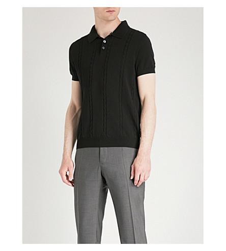 OSCAR 的雅各布森电缆针织棉马球衫 (黑色