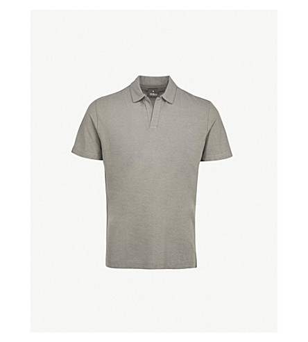 OSCAR JACOBSON Barrey regular-fit cotton polo shirt (Grey