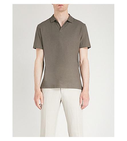 奥斯卡雅各布森 Barrey 定期合身的棉马球衫 (灰色