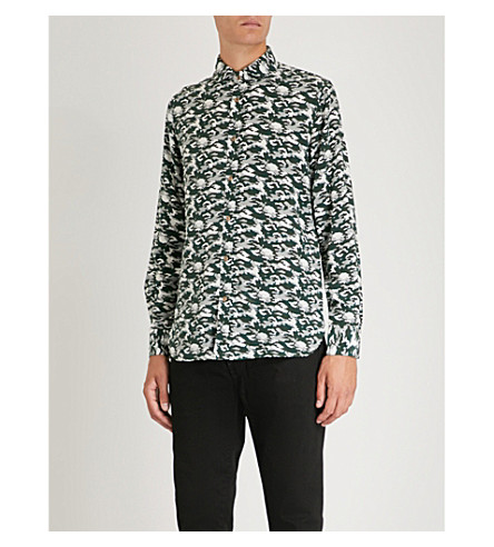 MAXIMILIAN ROBINSON The Mr Camo slim-fit silk shirt (Camo