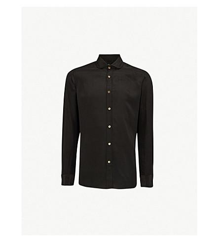 MAXIMILIAN ROBINSON Black Palm embroidered-palm trees regular-fit silk shirt (Black
