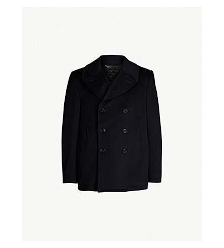 CROMBIE Double-breasted wool pea coat (Navy
