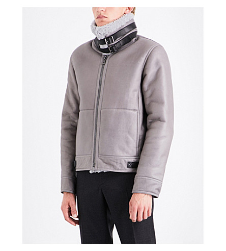JIL SANDER Norwich leather jacket (Light+grey
