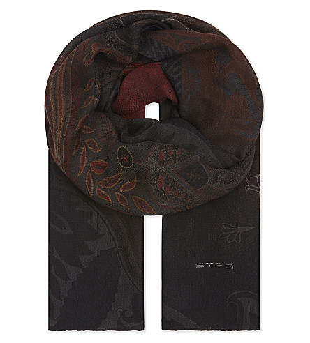 ETRO Flower pattern wool-silk blend scarf (Brown