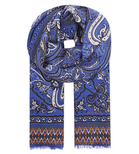 ETRO Floral print cashmere & silk tie (Blue