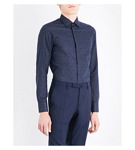 ETRO Polka-dot slim-fit cotton shirt (Navy