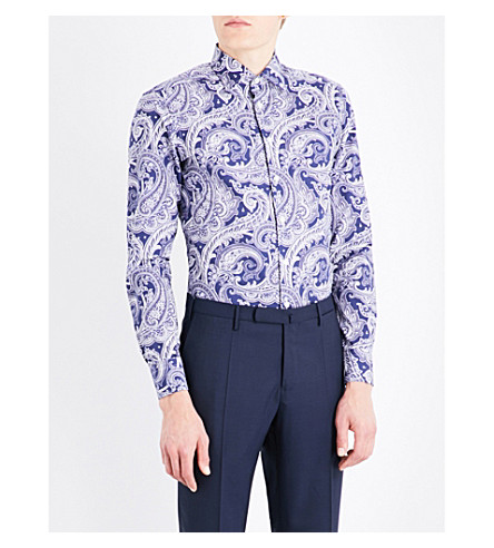 ETRO Paisley-patterned tailored-fit cotton shirt (Navy/white