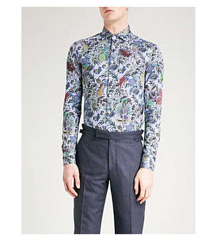 ETRO Floral-print slim-fit cotton shirt (Blue
