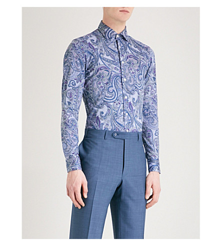 ETRO Paisley-print cotton shirt (Blue