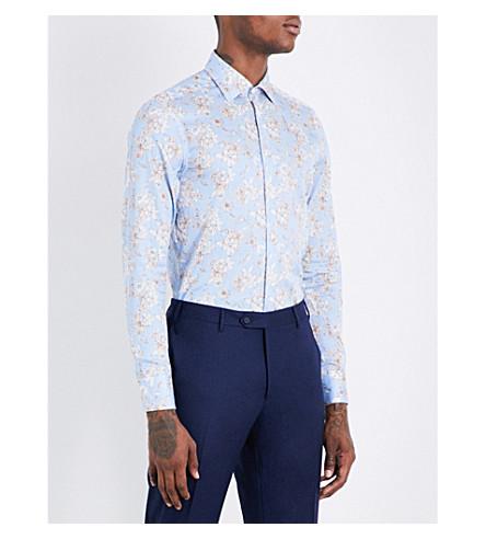 ETRO Striped floral-print slim-fit cotton shirt (Sky