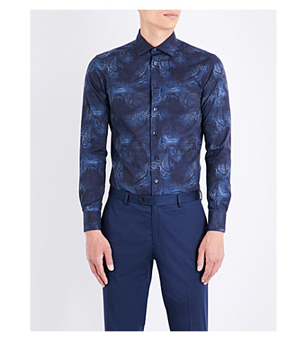 ETRO Paisley cotton shirt (Navy
