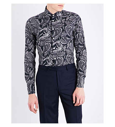 ETRO Paisley-patterned slim-fit cotton shirt (Black