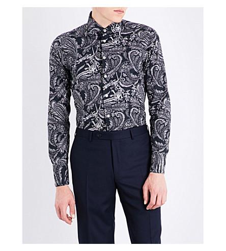 ETRO Paisley-patterned slim-fit cotton shirt (Black