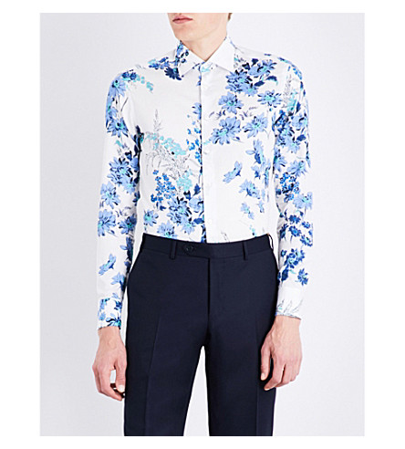 ETRO Floral-patterned slim-fit cotton shirt (White/blue