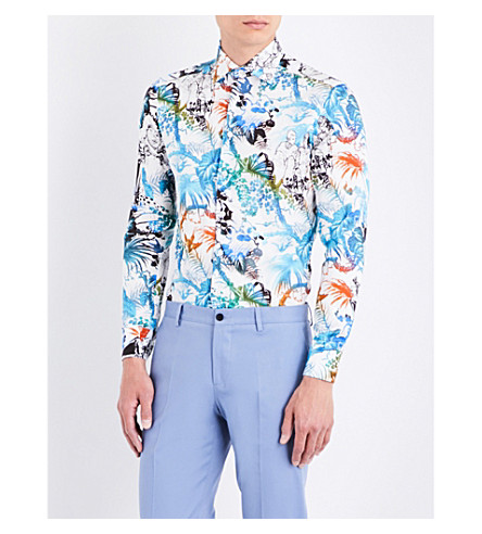 ETRO Mercrio botanical-print tailored-fit cotton shirt (White