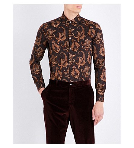 ETRO Paisley cotton shirt (Brown/bordeux