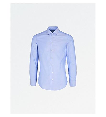 ETRO Contrast-detail slim-fit cotton shirt (Blue