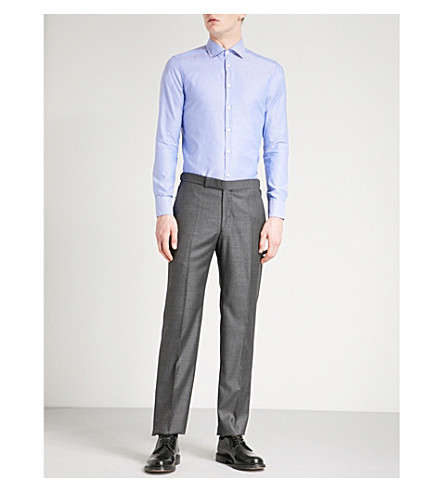 ETRO Contrast-detail slim-fit cotton shirt (Blue
