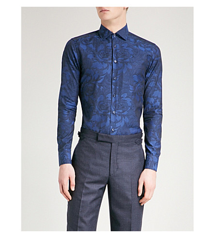 ETRO Paisley-print slim-fit cotton shirt (Navy
