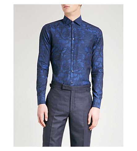 ETRO 修身版型棉衬衫 (海军