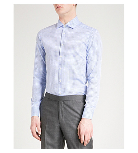 ETRO Mini paisley-print slim-fit cotton shirt (Blue