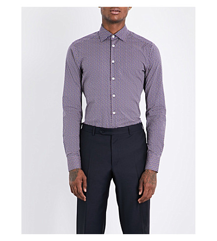 ETRO Geometric-pattern slim-fit stretch-cotton shirt (Navy