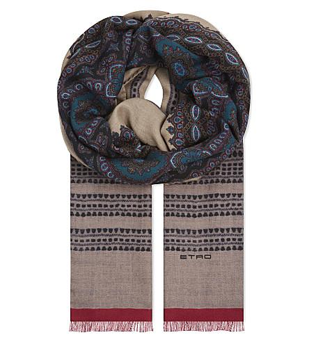 ETRO Paisley cashmere-silk blend scarf (Beige