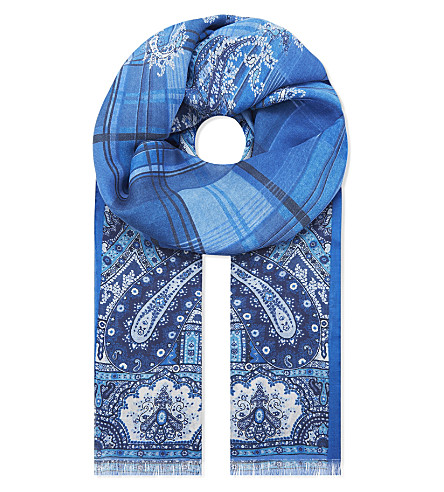 ETRO Paisley modal and cashmere scarf (Blue